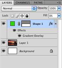 Layer palette > fill Opacity 0