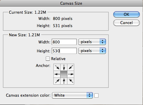 Image > Canvas Size
