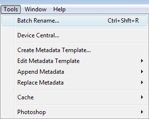 Tools > Batch Rename