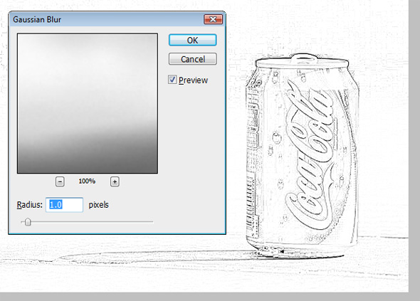 Guassian blur settings to create a line drawing