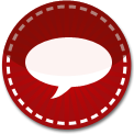 Speech bubble red stitch icon