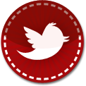 Twitter Bird red stitch icon