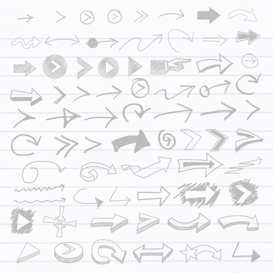 Hand Drawn Arrows - Vector Shape Set