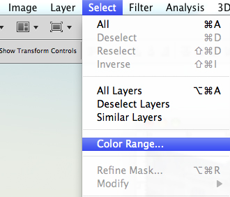 Select > Colour Range